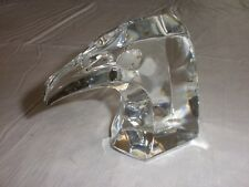 Baccarat France Crystal Glass Eagle Head Paperweight Figurine Signed