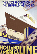 Holland America Statendam Ship Building Travel Vacatiion A3 Art Poster  Print