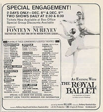 1965 New York Theatre The Royal Ballet Fonteyn Rudolph Nureyev Show Print Ad