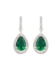 Emerald Earrings Sterling Silver Drop Cluster Drops