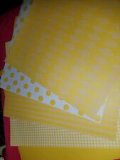 Scrapbook paper 12x12 DOTS STRIPES YELLOW 5 pgs