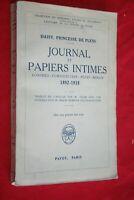 DAISY PRINCESSE DE PLESS JOURNAL ET PAPIERS INTIMES EDITIONS PAYOT 1932