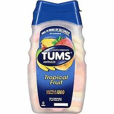 Tums Antacid Tropical Fruit Ultra Strength 1000 72Tablets