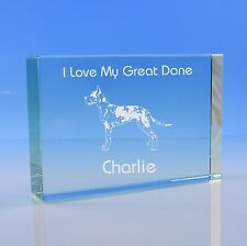 More details for harlequin great dane dog lover gift personalised engraved glass paperweight