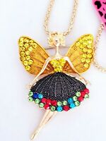 LOVELY BETSEY JOHNSON Enamel/Crystal Fairy with Wings Pendant Long Necklace