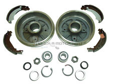 PEUGEOT 206 REAR 2 BRAKE DRUMS & SHOES SET & 2 WHEEL BEARING KITS NEW WITH ABS