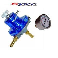 SYTEC SAR ADUSTABLE 1-5 BAR FUEL PRESSURE REGULATOR (BLUE) 8mm + PRESSURE GAUGE
