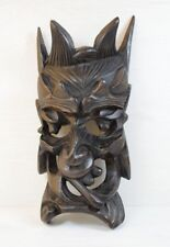 Antique Ebony Wood Handmade Carved Demon Face Scary Mask Wall Hanging Deco Art