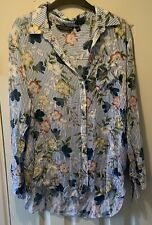 Size 18 Blue Pin Stripe Floral Long Sleeve Shirt By Dorothy Perkins UGC