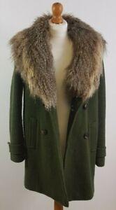 Kimchi Blue Ladies XS Moss Green Coat Faux Fur Trim