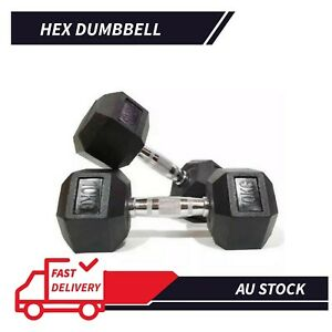 1 Pair Hex Rubber Coat Iron Dumbbell Home Gym Strength Weight Training 2.5kg