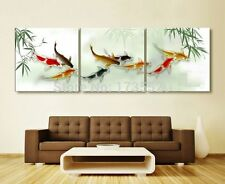 3pc Modern Abstract wall art Koi fish oil Painting on canvas unframed