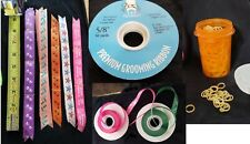 Large Lot of Pre-Cut RIBBON & Rubber Bands for Making DOG BOWS -Over 500 Yards!