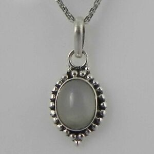 """925 Sterling Silver Moonstone Handmade Necklace 18"""" Chain Festive Gift PS-1983"""