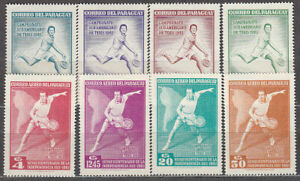 Paraguay - Mail 1961 Yvert 639 42 + A.305/8 MH Sports Tennis