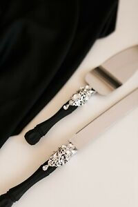 Wedding cake server set Black Wedding Cutting set 2pcs Wedding gift
