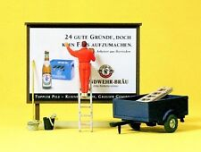 Preiser Billboard and Worker with Trailer 10526 HO Scale (suit OO Also)