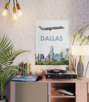 """American Airlines MD-80 over Dallas Art - 18"""" x 24"""" Poster"""