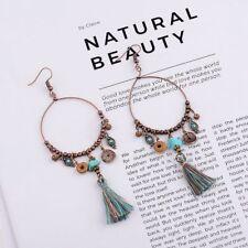 Women's Bohemian Copper Hook Round Long String Tassel Beads Drop Dangle Earrings