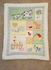 "Baby Infant Farm Animal Quilt Baby Blanket Comforter 42"" x 32"" Multicolored, EUC"