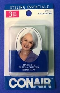 NEW 3 pack Conair Hair Nets three grey Hairnets One size comfortably fits ALL