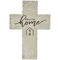Bless This Home Wall Cross. distressed stone Style. Inspirational Gift & Decor
