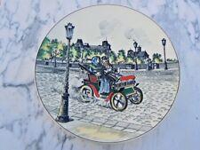Plat decor voiture La belle epoque N°638 décor peint émaillé P. MIGNON Longwy