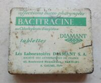 Vintage french cough Bacitracine Diamant advertising tin box France 50s antique