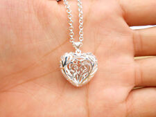 925 Sterling Silver Plating Women Fashion Jewelry empty Heart Pendant Necklace