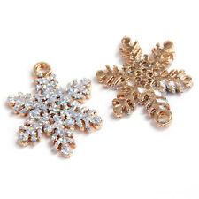 10pcs Gold Plated Powder Snowflake Charms Alloy Christmas Pendants XMAS Gifts BS
