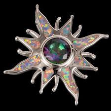 Starburst Round Mystic Topaz Lavender Purple Fire Opal Silver Necklace Pendant