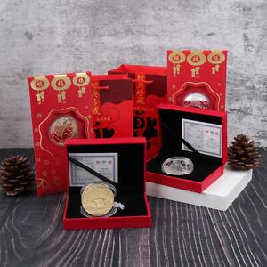 Year of the Ox transfer commemorative coin Zodiac Bull gold silver decoratiA_jx