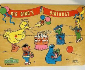 Sesame Street Wooden Puzzle Big Bird's Birthday Muppets Tree Toys  Vintage