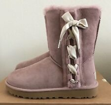 UGG Womens PALA Boots Dusty Rose Pink Size 7 Warm Sheepskin Winter Satin Lace