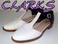 "Fabulous ""CLARKS""SOMERSET Black&White  Leather T-Bar Shoes  UK 6.5   EU 40  £75"