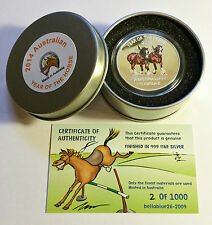2014 Year of The Horse Aust Clydesdale 1 Oz Coin and Tin C O a Ltd 1 000