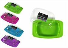 New Butter Dish Tray Holder Fridge Storage Plastic Lid In Choice Of Colours