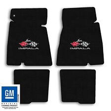 1965 Chevrolet Impala - Black Velourtex Carpet 4pc Floor Mat Set - Flags Logo