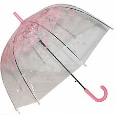 Clear Bubble Umbrella Half Automatic Flower Dome Shape Rain Umbrella
