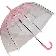 Clear Bubble Umbrella Half Automatic Flower Dome Shape Rain Umbrella