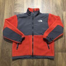 The North Face Boys Girls Kids M Denali Fleece Jacket Sweater Red Gray Zip A5