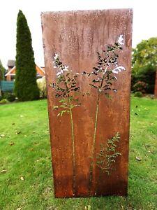 Edelrost Garten Sichtschutz Wand Rost Sichtschutzwand Metall 150*62 cm Gräser