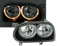 BLACK ANGEL EYE HEADLIGHTS HEADLAMPS FOR VW GOLF MK3 MK 3