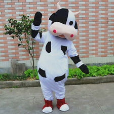 Advertising Unisex Cow Mascot Costume Cosplay Party Dress Outfit Adult Halloween