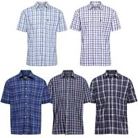 Mens Short Sleeve Checked Shirt Designer Classic Collared Casual Formal Shirts