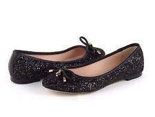 Kate Spade S1150002 Willa Black Glitter Nappa Leather Gold Ballet Flat Size 7