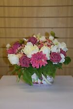 Beautiful Floral Arrangement in Metal Bucket with Handle - Pinks and Ivory
