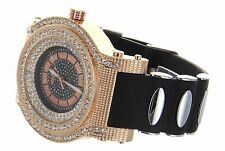Over Size Bezel Ice Out RoseGold Finish Watch with Bullet Silicon Band by Geneva