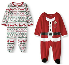 Holiday Time Christmas Baby Set of 2 One Piece Sleepers Red Size 3-6 mo ~ New