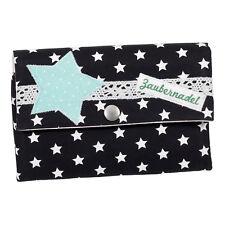 Damen Geldbörse Portemonnaie Stoff Sterne Schwarz Handmade Dawanda Unikat NEU